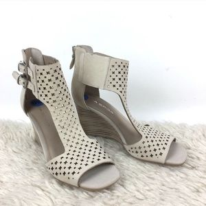 Shoes - Via Spigal Leather Sandal Wedges
